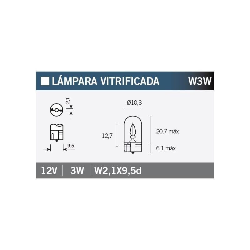 Ampoule Vicma W3W W2,1x9,5d 12V 3W