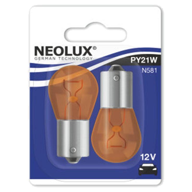 Ampoules Neolux 12V-21W BAU15S avec ergot décalé orange (x2)