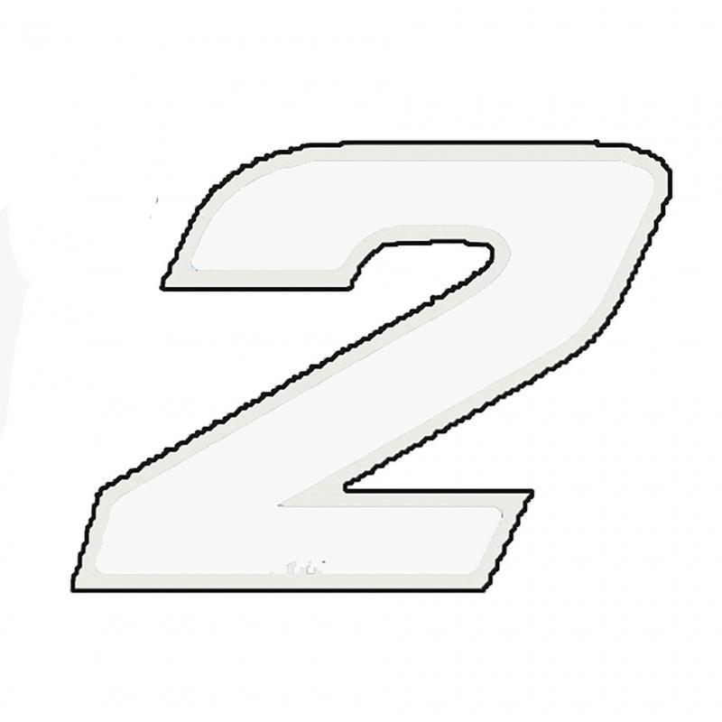 Autocollant numéro 2 blanc 13 cm