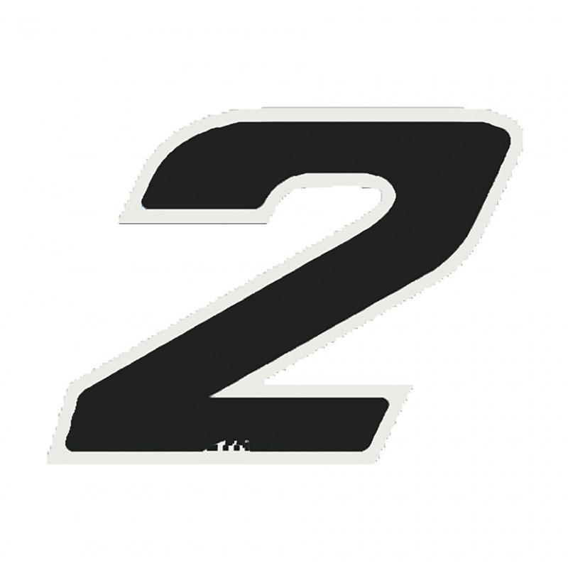 Autocollant numéro 2 noir 13 cm