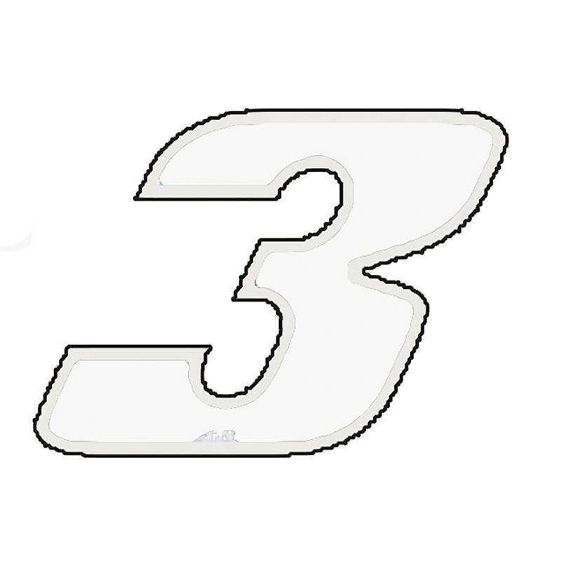 Autocollant numéro 3 blanc 9 cm