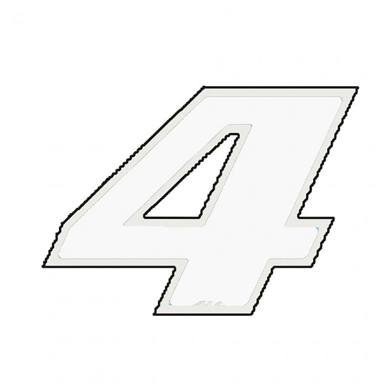 Autocollant numéro 4 blanc 13 cm