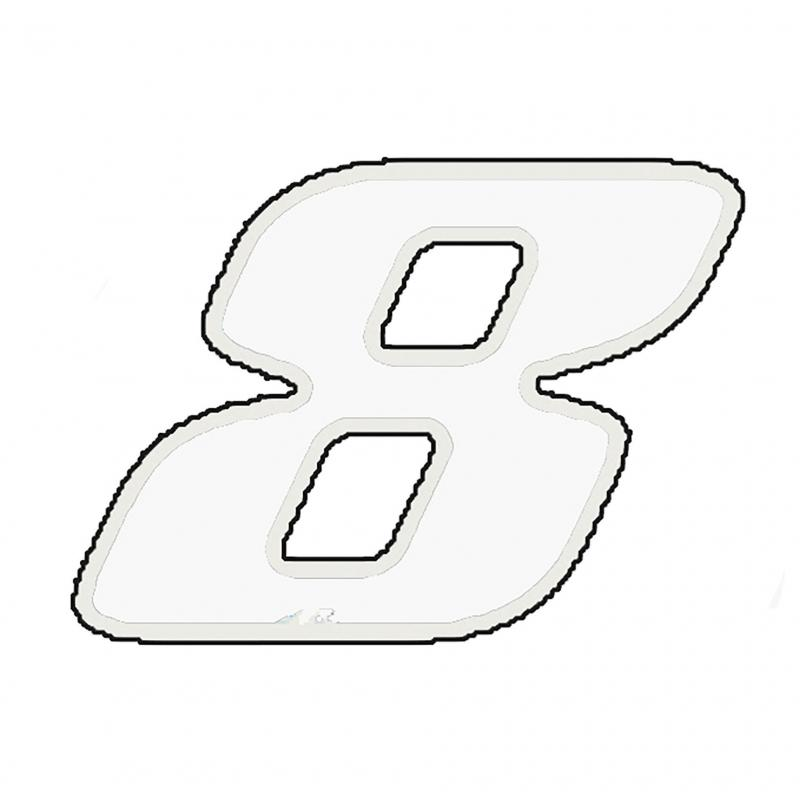 Autocollant numéro 8 blanc 13 cm
