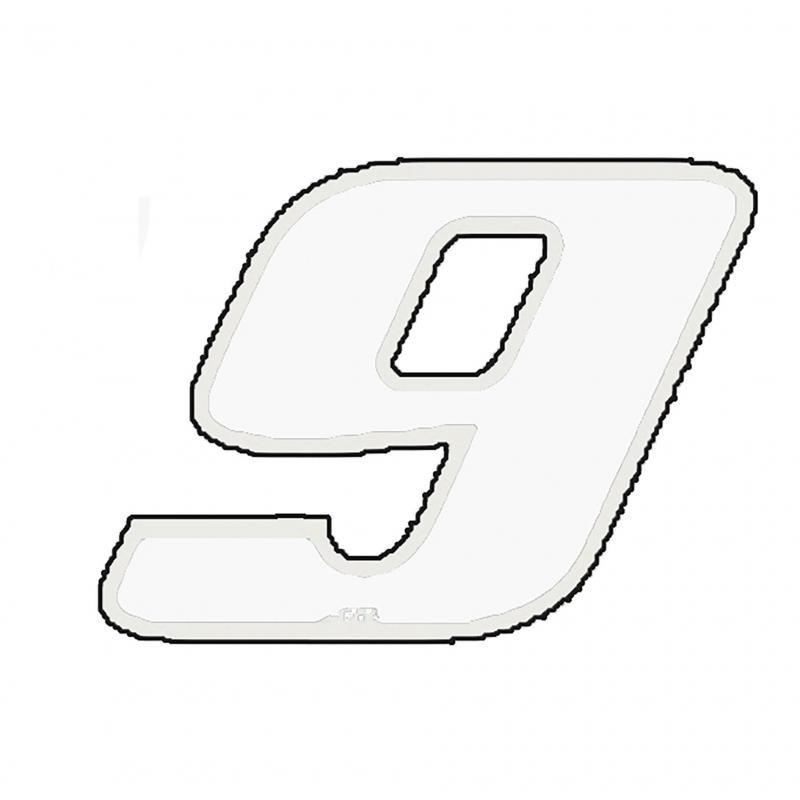 Autocollant numéro 9 blanc 13 cm