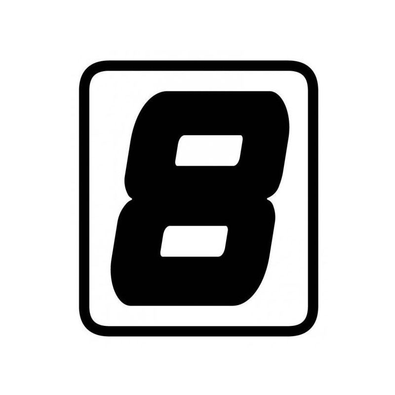 Autocollant numéro course Barracuda #8 noir