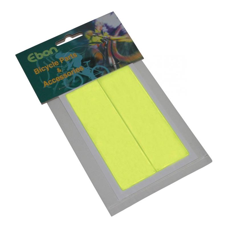 Autocollants réfléchissants rectangle 31x108mm jaune fluo (2 pièces)