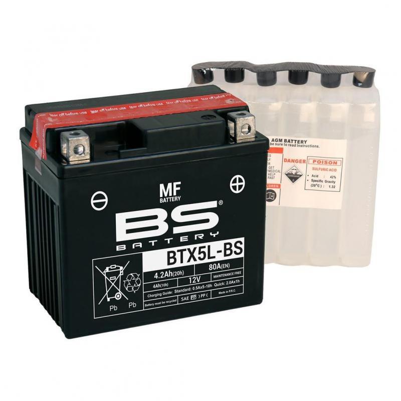 Batterie BS Battery BTX5L-BS 12V 4,2Ah MF avec pack acide