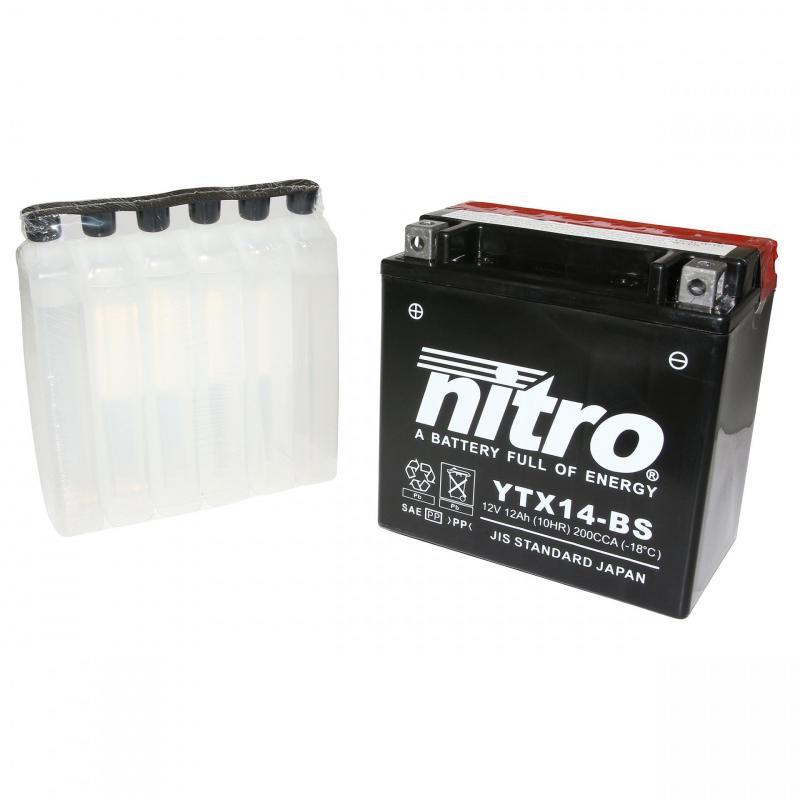 Batterie Nitro YTX14-BS 12V 12 Ah avec acide