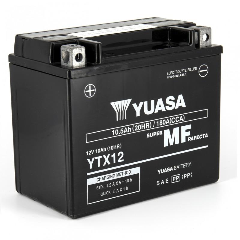 Batterie Yuasa YTX12-BS 12V 10,5 Ah prête à l'emploi