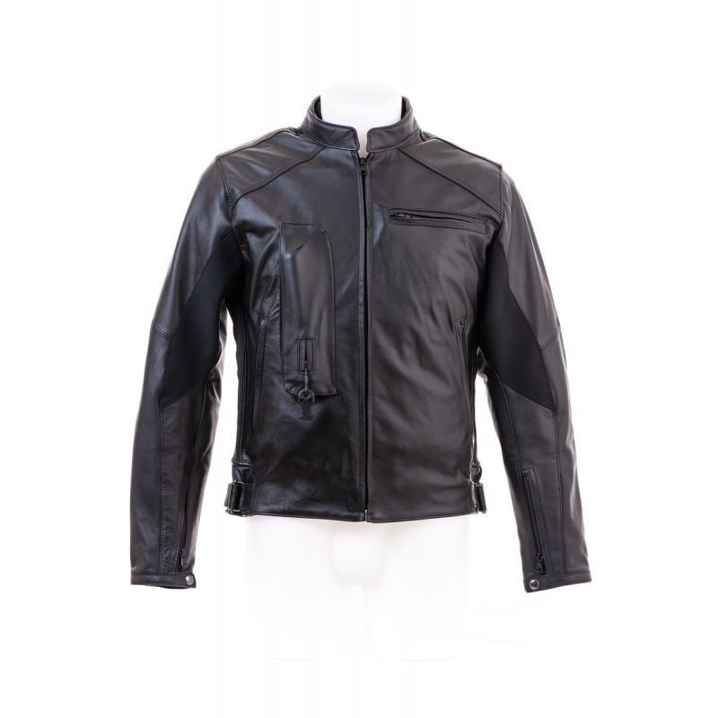 Blouson Airbag Helite cuir racing noir