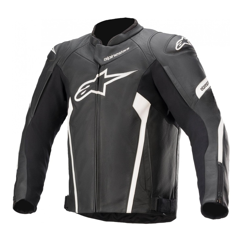 Blouson cuir Alpinestars Faster V2 noir/blanc