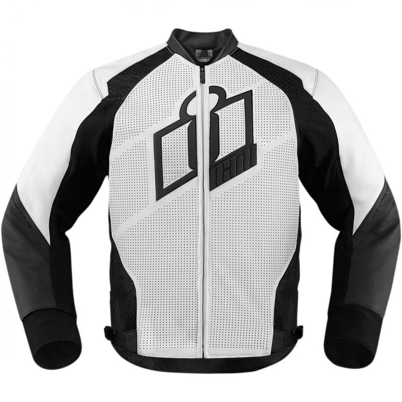 Blouson cuir Icon Hypersport blanc