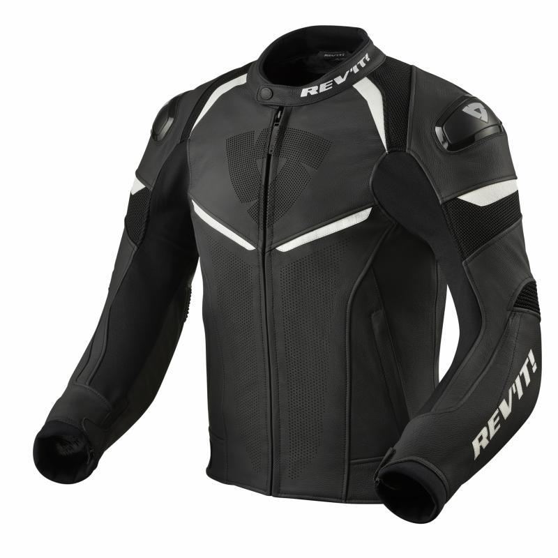 Blouson cuir Rev'it Convex noir/blanc