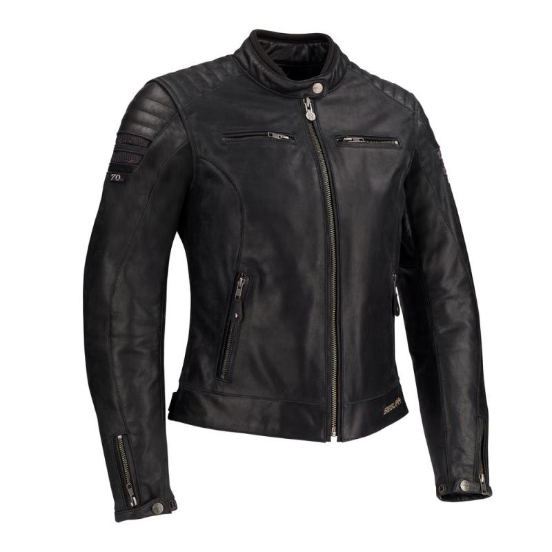 Blouson cuir Segura LADY STRIPE noir/gris argent