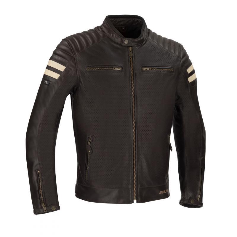 Blouson cuir Segura Stripe Perfo beige/marron