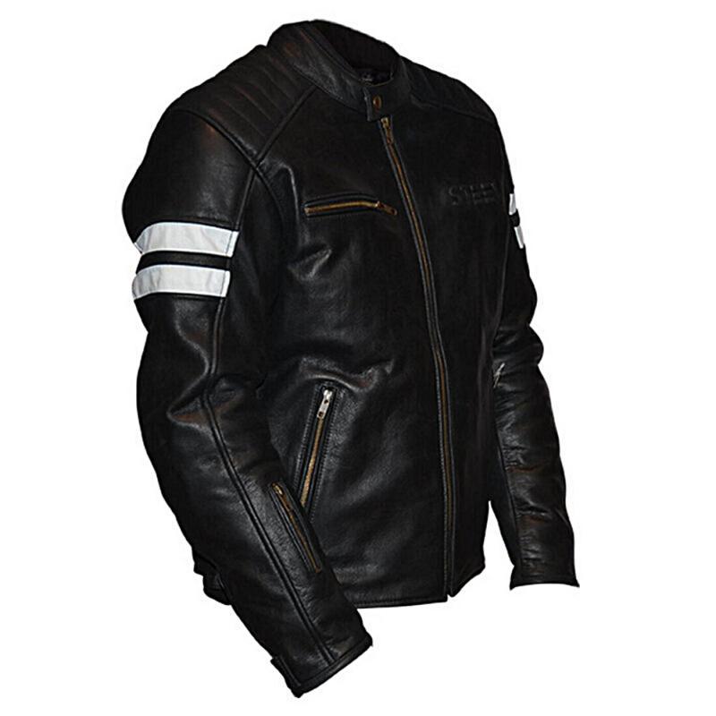 Blouson cuir Steev legend noir/blanc