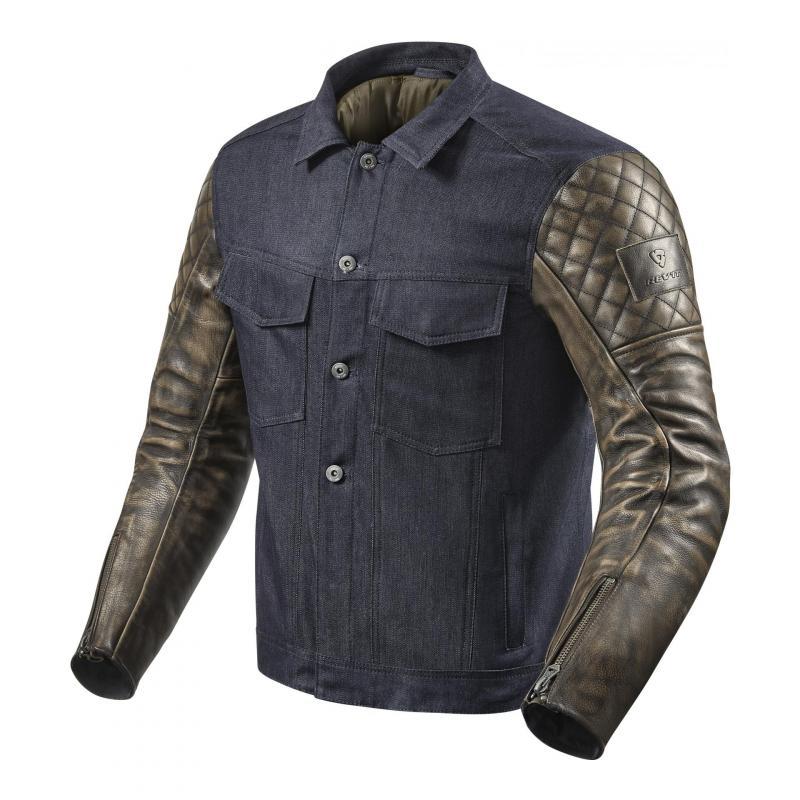 Blouson cuir/textile Rev'it Crossroads bleu/marron