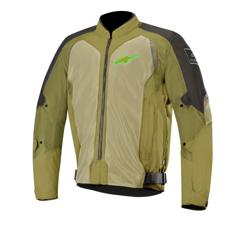 Blouson textile Alpinestars Wake Air noir/olive/vert fluo
