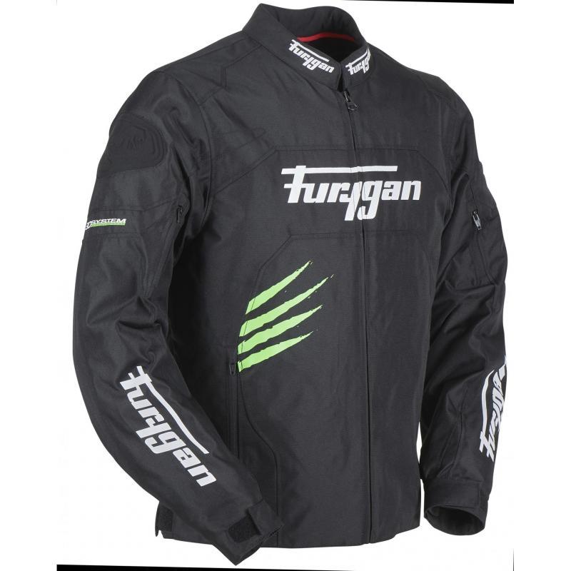 Blouson textile Furygan Rock noir/vert fluo