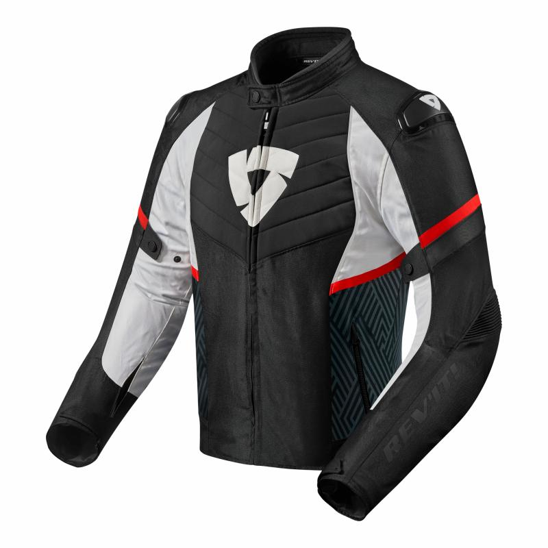 Blouson textile Rev'it Arc H2O noir/rouge