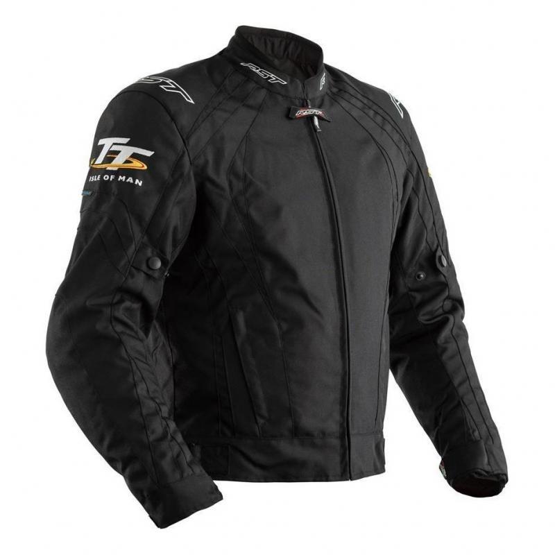 Blouson textile RST Iom TT Grandstand CE noir (Avec doublure amovible)