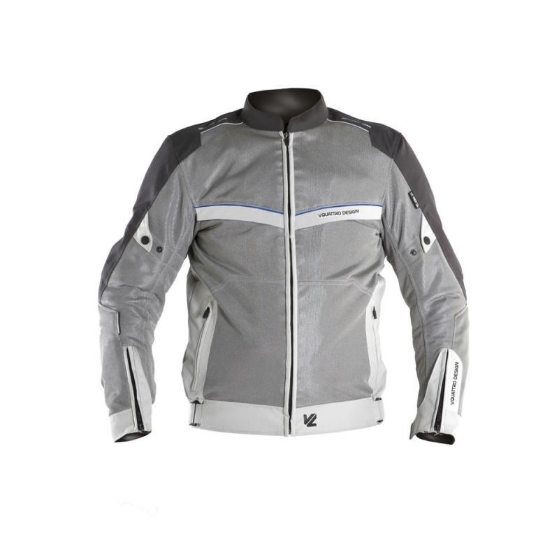 Blouson textile V'Quattro VE-21 blanc/gris/bleu