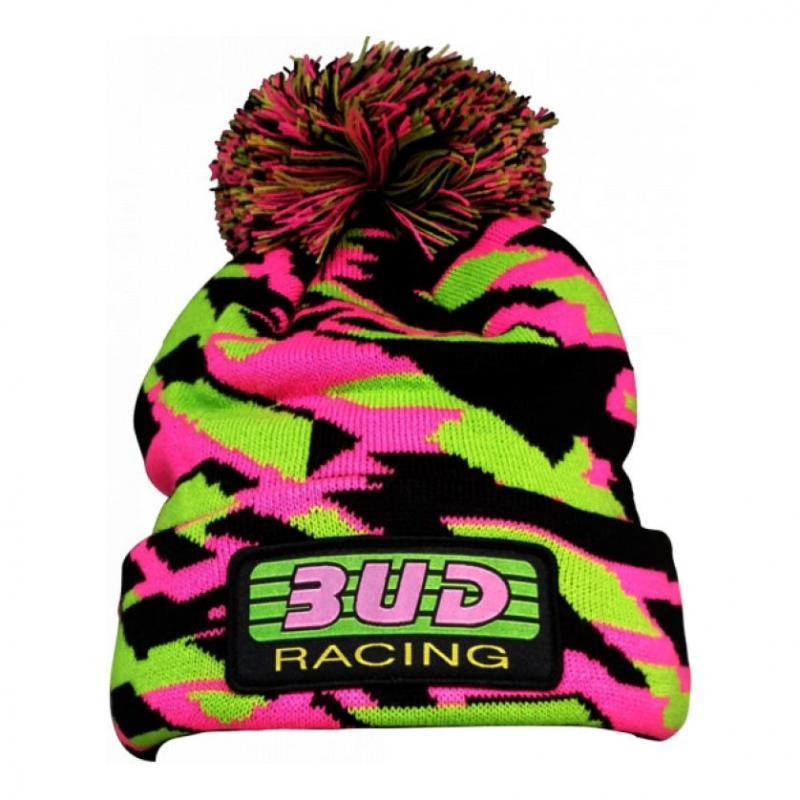 Bonnet Bud Racing Pom rose/vert