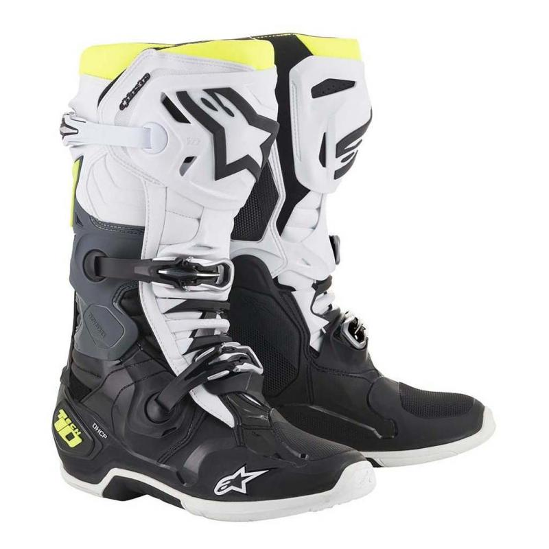 Bottes cross Alpinestars Tech 10 noir/blanc/jaune fluo
