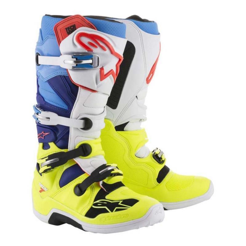Bottes cross Alpinestars Tech 7 jaune fluo/blanc/bleu