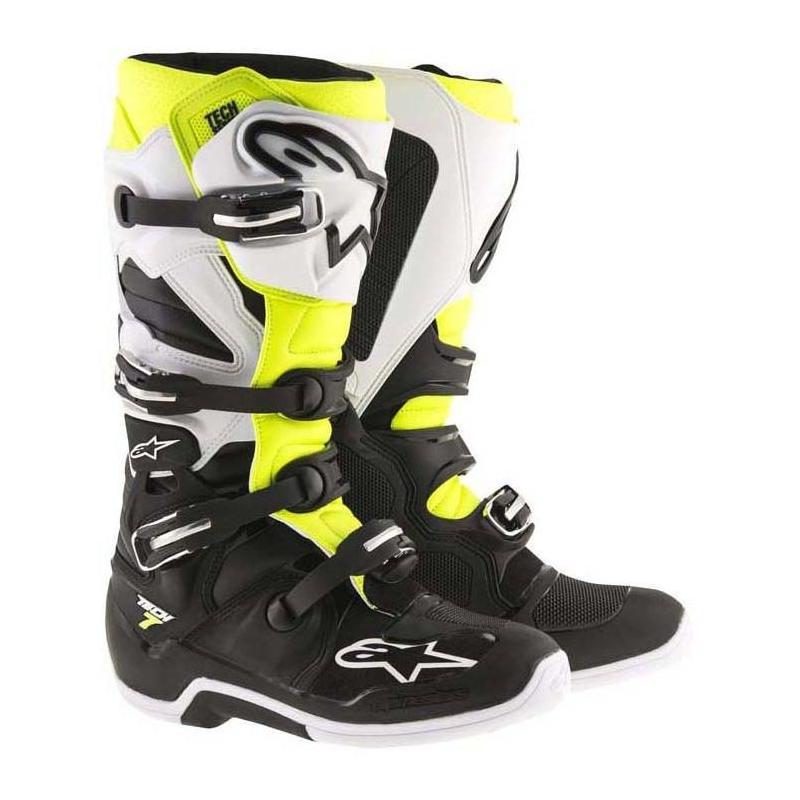 Alpinestars Bottes Motocross Enfant Tech 3S Noir-Blanc-Rouge-Fluorescent Eu 39 // Us 6, Noir