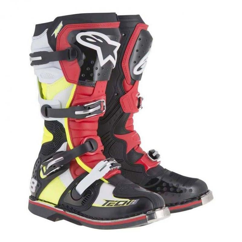 Bottes cross Alpinestars TECH 8 RS noir/rouge/jaune/blanc
