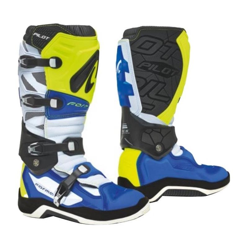Bottes cross Forma Pilot jaune fluo/blanc/bleu