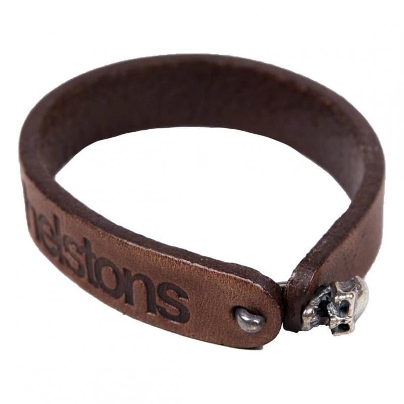 Bracelet cuir Helstons Skull argent/marron