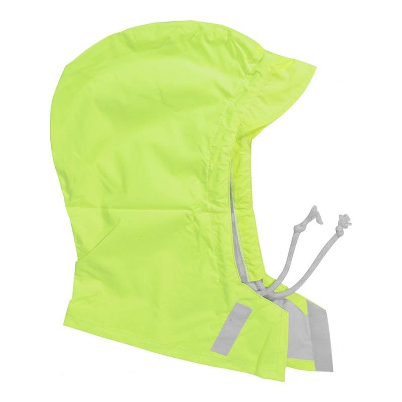 Capuche universelle contre la pluie avec visière en tissu déperlant jaune fluo