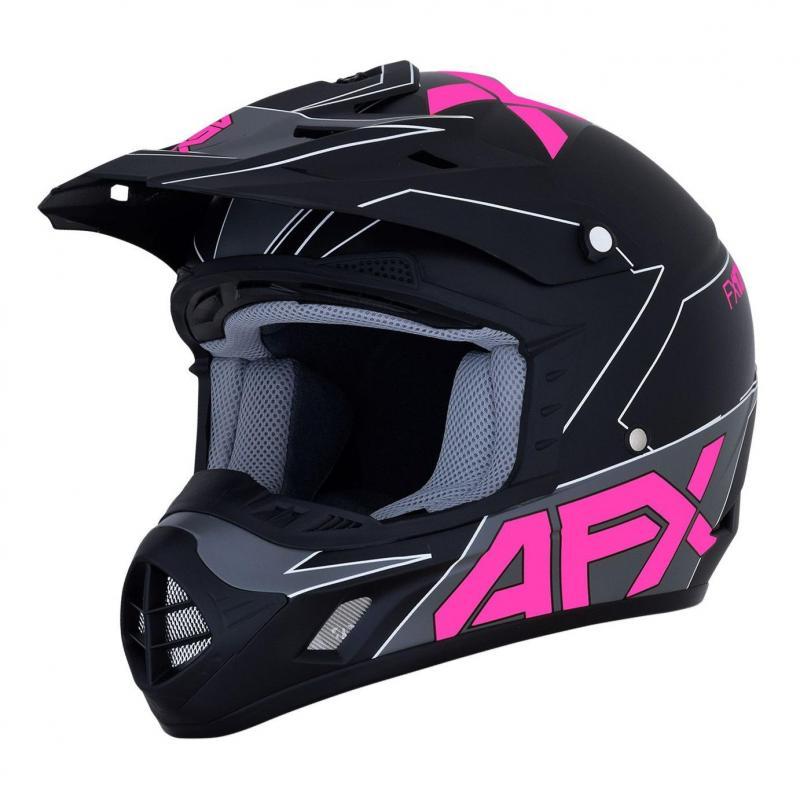 Casque cross AFX FX-17 noir/rose/gris mat