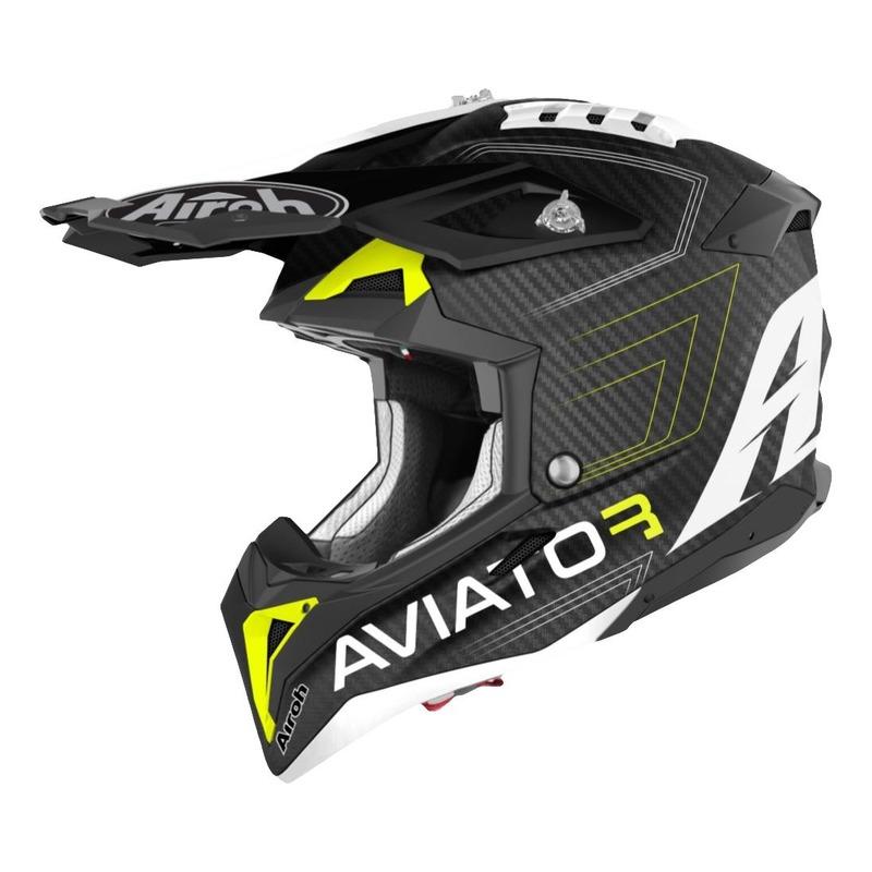 Casque cross Airoh Aviator 3 Primal Carbon 3k jaune mat