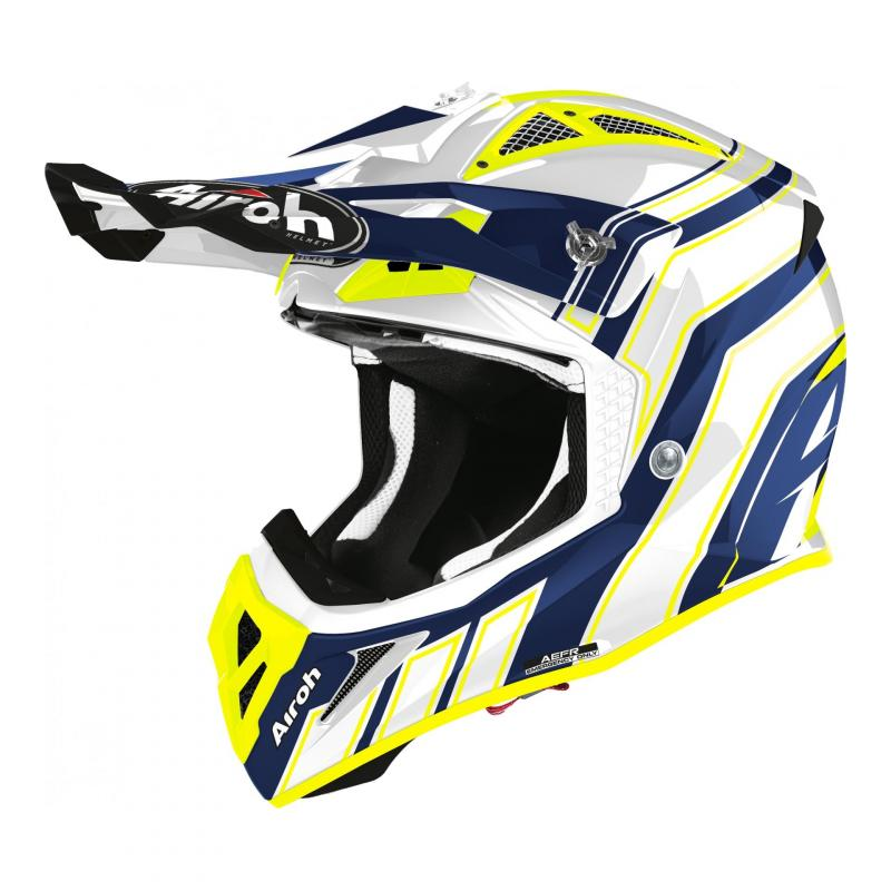 Casque cross Airoh Aviator Ace Art bleu brillant