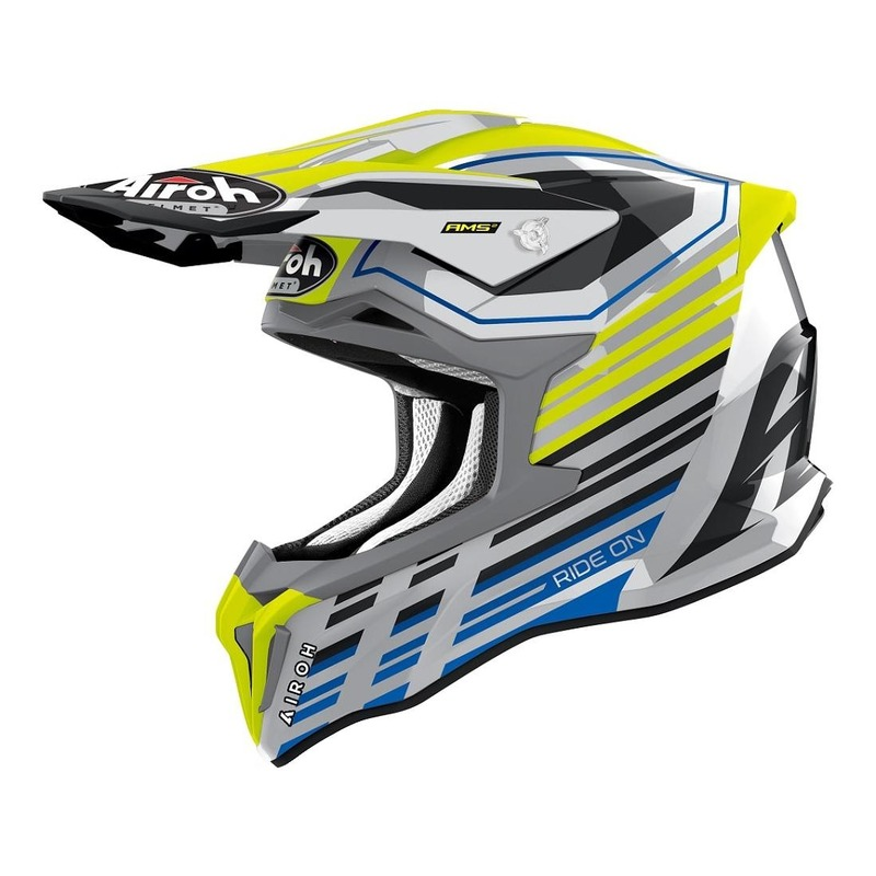 Casque cross Airoh Strycker Shaded jaune fluo/argent/bleu brillant