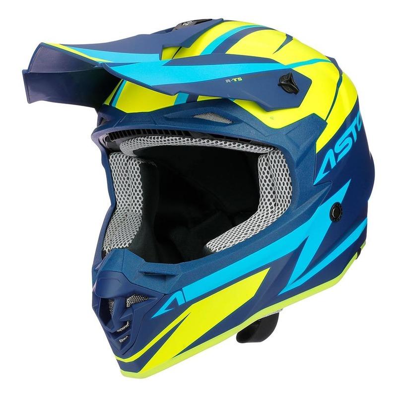 Casque cross Astone MX800 Racers jaune fluo/bleu/bleu mat
