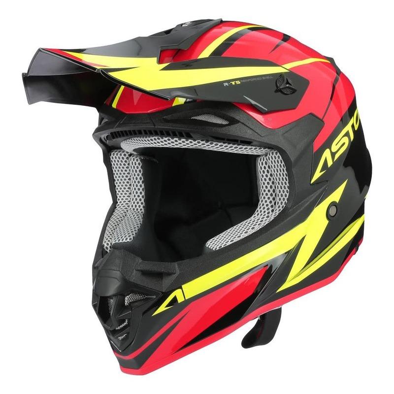 Casque cross Astone MX800 Racers rouge/jaune fluo/noir brillant