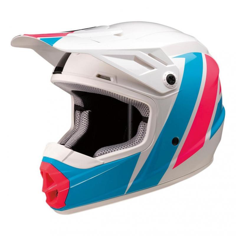 Casque cross enfant Z1R Rive Evac blanc/rose/bleu brillant