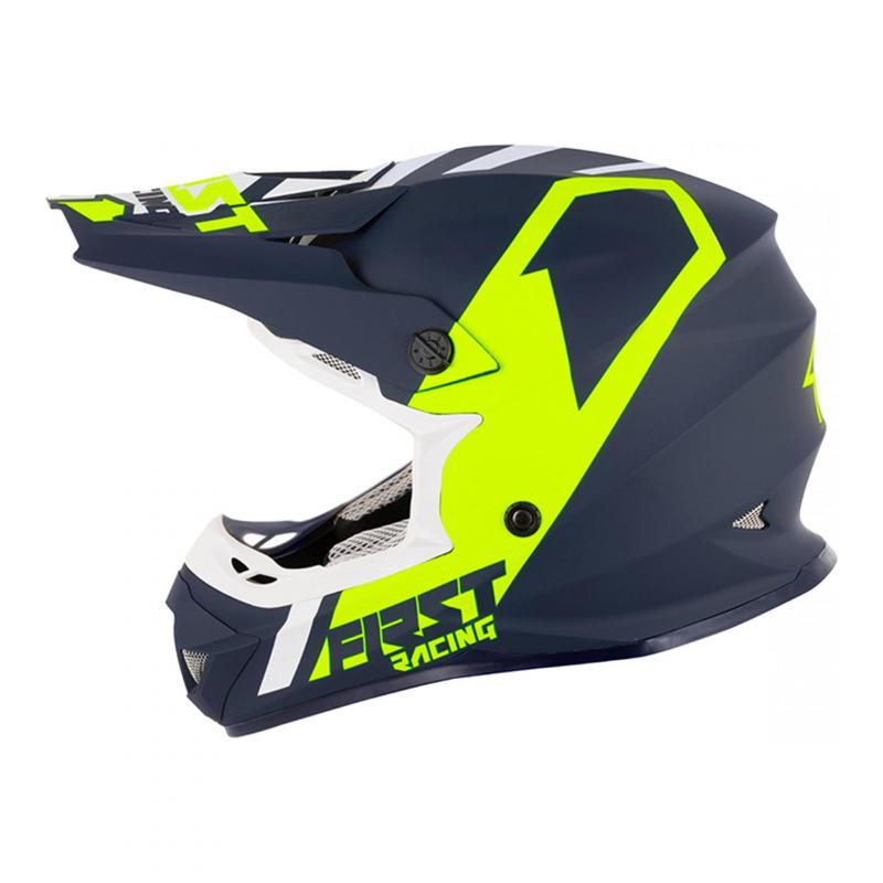 Casque cross First Racing K2 bleu / blanc fluo
