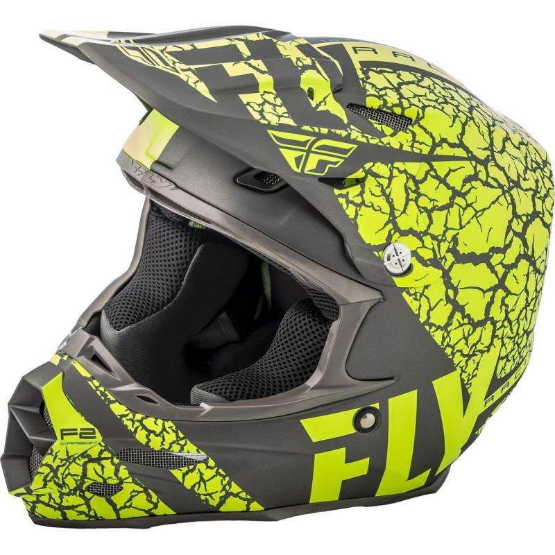Casque cross Fly Racing F2 Carbon Fracture gris/jaune fluo