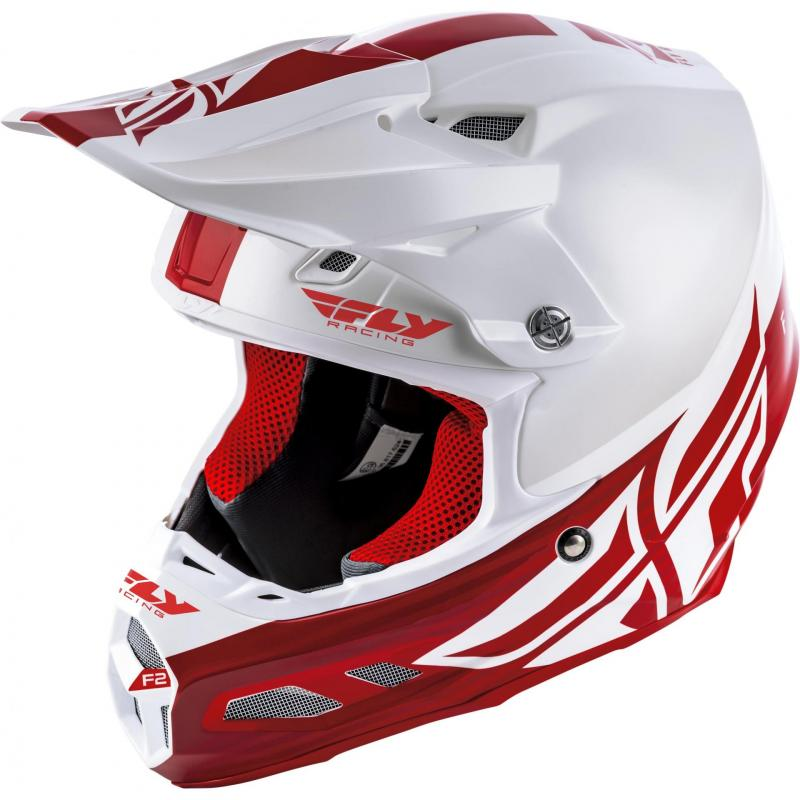 Casque cross Fly Racing F2 MIPS Shield blanc/rouge