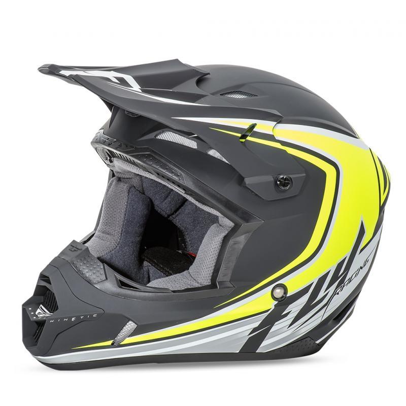 Casque cross Fly Racing Kinetic Fullspeed noir mat/jaune