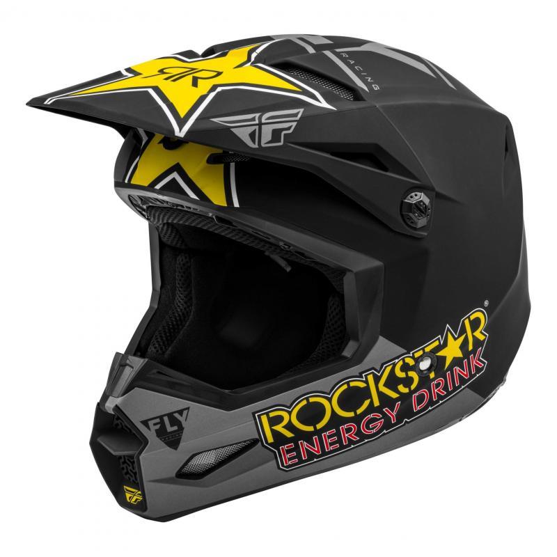 Casque cross Fly Racing Kinetic Rockstar jaune/noir/gris mat