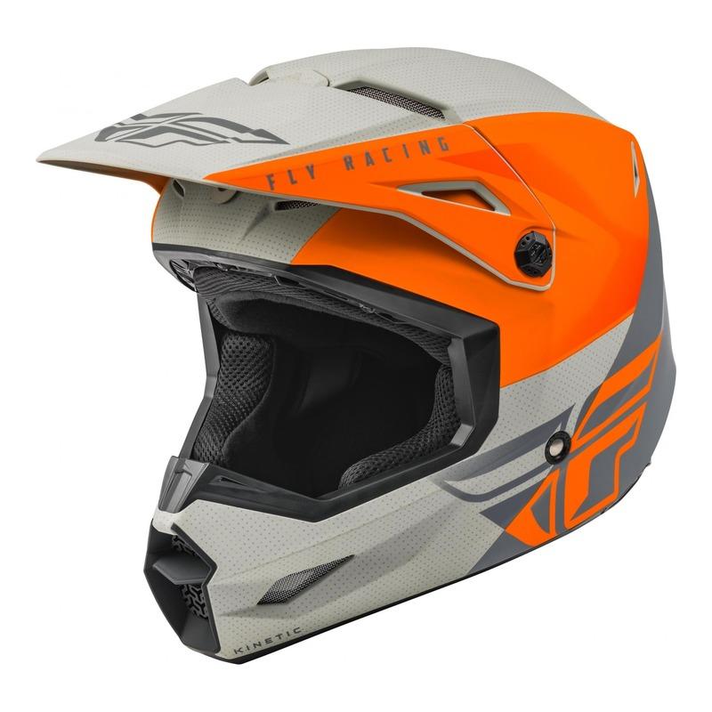 Casque cross Fly Racing Kinetic Straight Edge Mat orange/gris