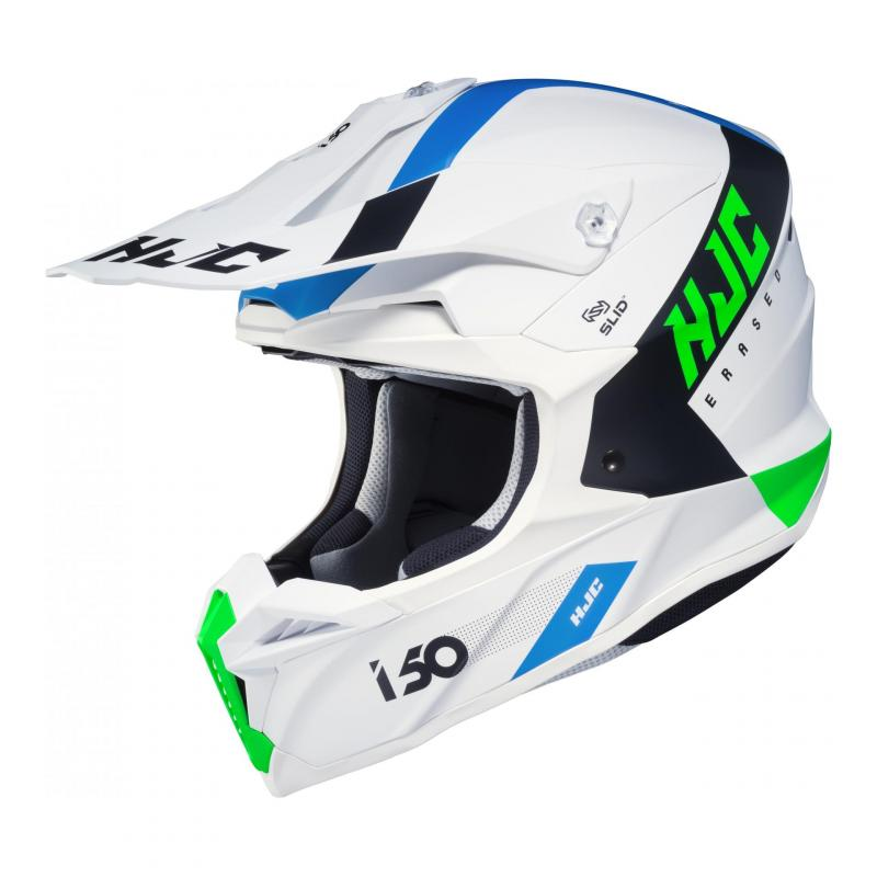Casque cross HJC i50 Erased MC24SF blanc/bleu/vert mat