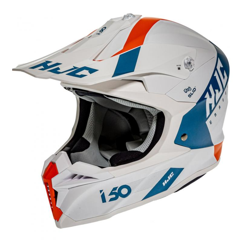 Casque cross HJC i50 Erased MC47SF blanc/bleu/orange mat