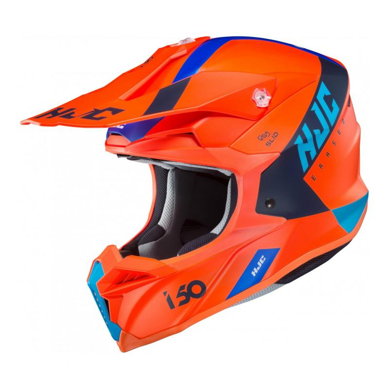 Casque cross HJC i50 Erased MC4HSF orange/bleu/noir mat
